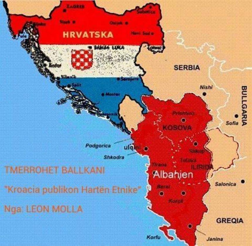 Kroatët publikojnë hartën e Shqipërisë Etnike, çmenden serbët (FOTO)