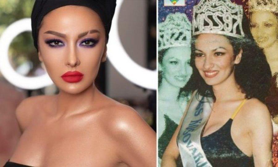 Image result for Foto e rrallë e Adelina Ismailit kur u shpall 'Miss Kosova 1997'